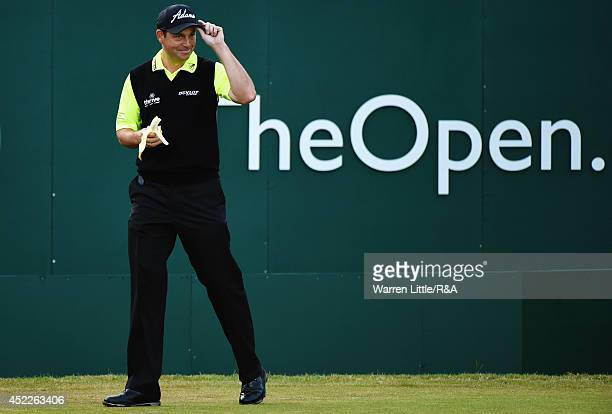 David Howell of England prepares to hit his tee shot on the first hole during the first round of The 143rd Open Championship at Royal Liverpool on...