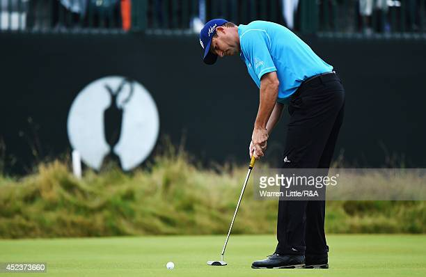 David Howell of England putts on the third green during the third round of The 143rd Open Championship at Royal Liverpool on July 19 2014 in Hoylake...