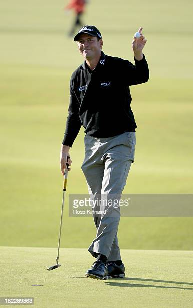 David Howell of England reacts after holing out on the 18th green during the final round of the Alfred Dunhill Links Championship on The Old Course...