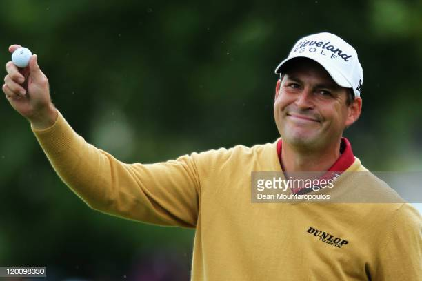 David Howell of England smiles after finishing his Third Round of the Discover Ireland Irish Open held at Killarney Golf and Fishing Club on July 30...