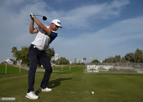 David Howell of England tees off from the 1st tee prior to the Commercial Bank Qatar Masters at Doha Golf Club on February 21 2018 in Doha Qatar