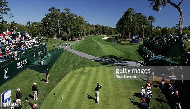 David Howell of England tees off on the 1st hole during third round of The Players Championship on the Stadium Course at the TPC Sawgrass on March 25...