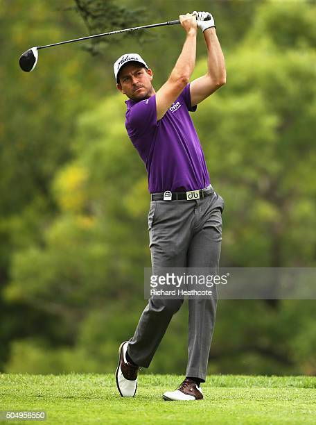 David Howell of England tees off on the 9th hole on the West course during day one of the Joburg Open at Royal Johannesburg and Kensington Golf Club...