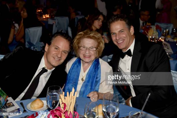 David Hryck Dr Ruth Westheimer and Allan Pollack attend China Institute 2017 Blue Cloud Gala at Cipriani 25 Broadway on November 2 2017 in New York...