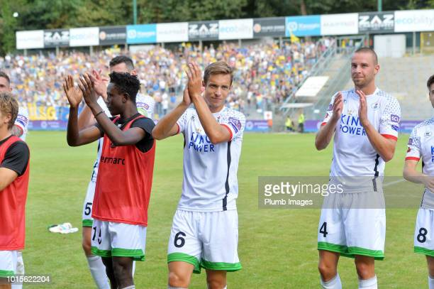 David Hubert of OH Leuven applauds the travelling fans after the Proximus League match between Royal Union SaintGilloise and OH Leuven at Stade Roi...
