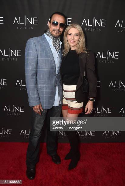 David Hullaster and VIctoria Hullaster attend a Hollywood Hills Soiree Curated By Bespoke Event Company, Aline Events on September 17, 2021 in Los...