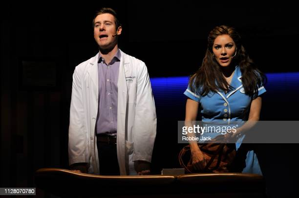 David Hunter as Dr Pomatter and Katharine McPhee as Jenna in Jessie Nelson's Waitress directed by Diane Paulus at The Adelphi Theatre on February 7...