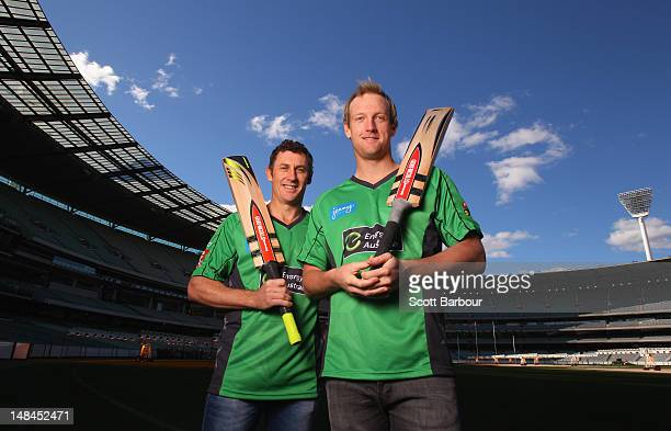 David Hussey and Cameron White of the Stars cricket team pose during a Melbourne Stars press conference at the Melbourne Cricket Ground on July 17,...