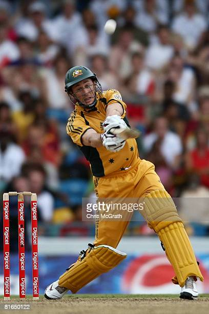 David Hussey of Australia hits out during the Twenty20 International between the West Indies and Australia at Kensington Oval on June 20 2008 in...