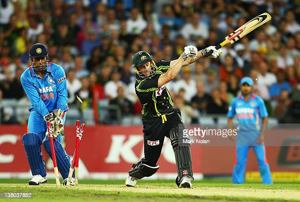 David Hussey of Australia is bowled during the International Twenty20 match between Australia and India at ANZ Stadium on February 1 2012 in Sydney...