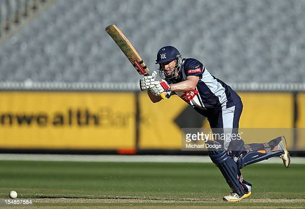 David Hussey of Bushrangers bats his way to a century during the Ryobi One Day Cup match between Victorian Bushrangers and the Tasmanian Tigers at...