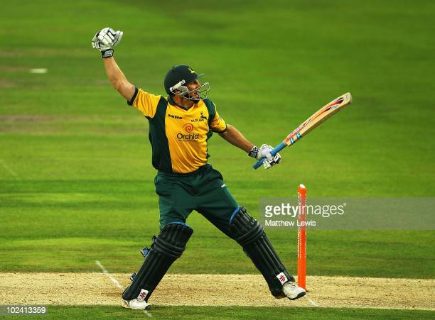 David Hussey of Nottinghamshire celebrates hitting the winning runs during the Friends Provident T20 match between Nottinghamshire and Durham at...