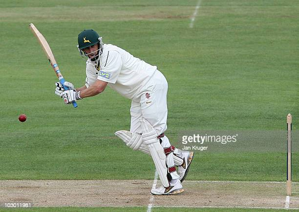 David Hussey of Nottinghamshire hits out during the LV County Championship Division One match between Warwickshire and Nottinghamshire at Edgbaston...