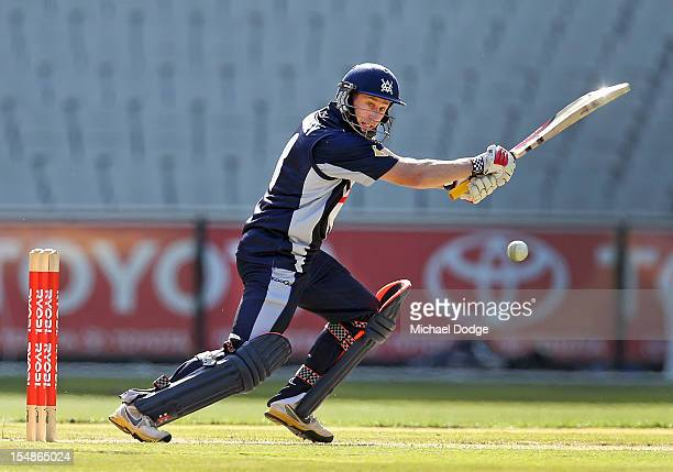 David Hussey of the Bushrangers bats during the Ryobi One Day Cup match between Victorian Bushrangers and the Tasmanian Tigers at Melbourne Cricket...