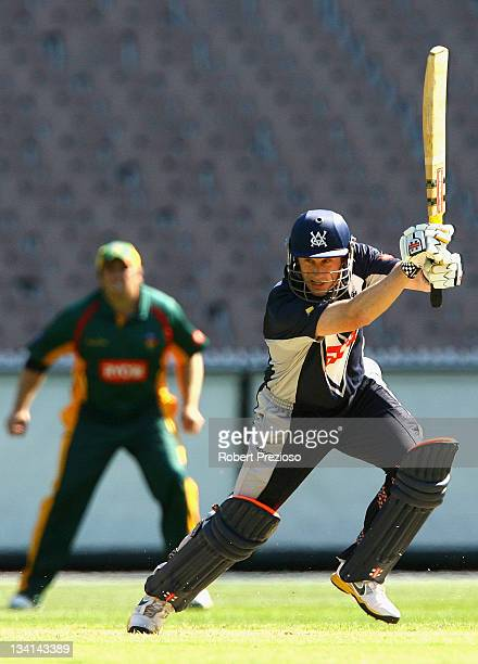 David Hussey of the Bushrangers plays a shot during the Ryobi One Day Cup match between the Victoria Bushrangers and the Tasmania Tigers at Melbourne...