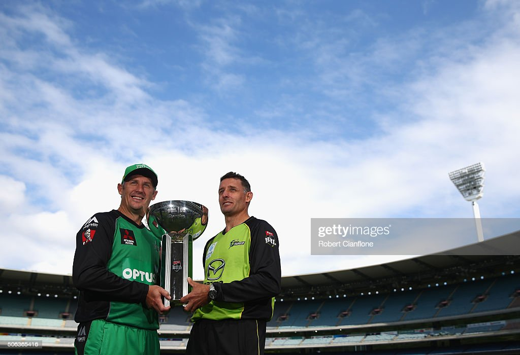 David Hussey of the Melbourne Stars and Mike Hussey of the Sydney Thunder pose during a media opportunity ahead of the 2016 Big Bash League Final at Melbourne Cricket Ground on January 23, 2016 in Melbourne, Australia.