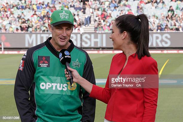 David Hussey of the Melbourne Stars is interviewed by TV presenter Mel Mclaughlin before the Big Bash League match between the Melbourne Stars and...