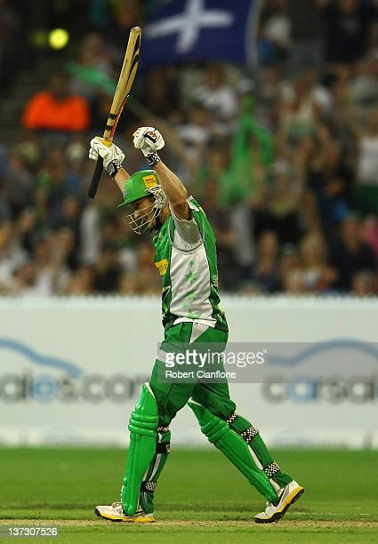 David Hussey of the Stars celebrates after scoring the winning runs during the T20 Big Bash League match between the Melbourne Stars and the Adelaide...