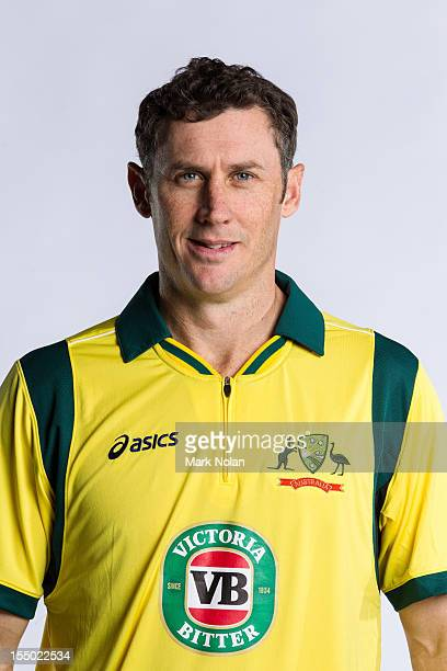 David Hussey poses during the official Australian One Day International cricket team headshots session on August 9 2012 in Darwin Australia