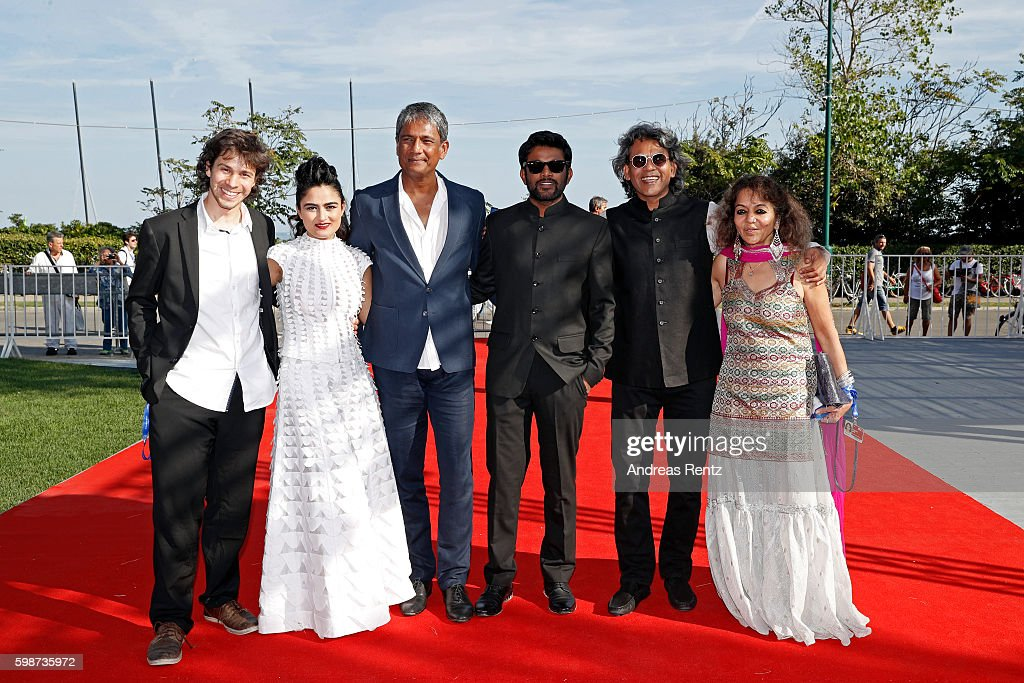 David Huwiler, Avyakta Kapur, actor Adil Hussain, director Shubhashish Bhutiani, producers Sajida Sharma and Sanjay Bhutiani attend the premiere of 'Hotel Salvation' Premiere during the 73rd Venice Film Festival at Sala Giardino on September 2, 2016 in Venice, Italy.