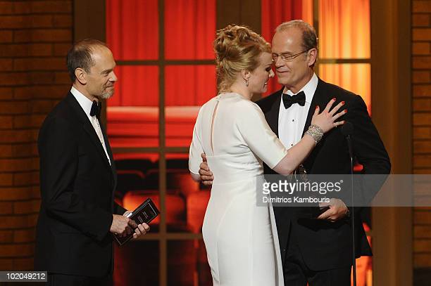David Hyde Pierce and Kelsey Grammer present Katie Finneran with her award onstage during the 64th Annual Tony Awards at Radio City Music Hall on...