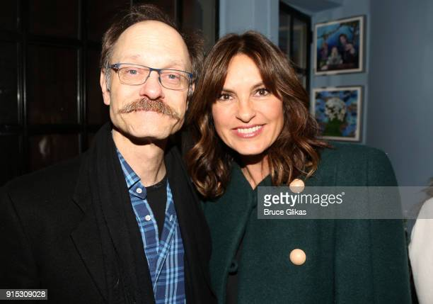 David Hyde Pierce and Mariska Hargitay pose backstage as Taylor Trensch joins the cast of 'Dear Evan Hansen' on Broadway at The Music Box Theatre on...