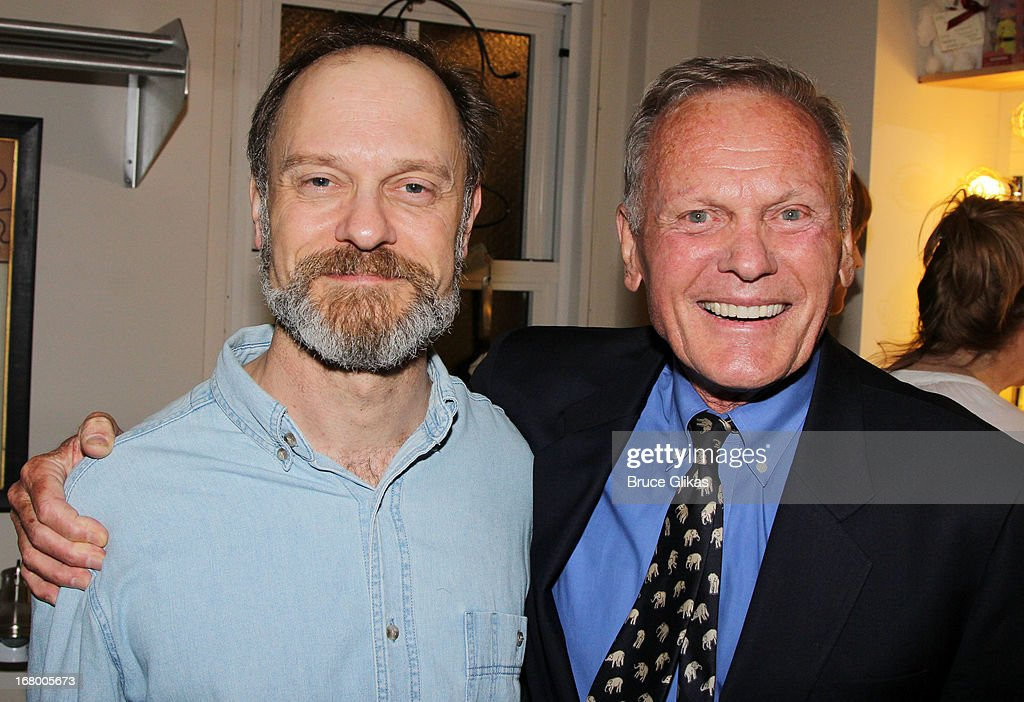 David Hyde Pierce and Tab Hunter pose backstage at the Tony Nominated hit play 'Vanya, Sonia, Masha and Spike' on Broadway at The Golden Theater on May 3, 2013 in New York City.