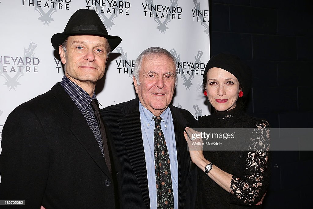 David Hyde Pierce, John Kander and Bebe Neuwirth attends the opening night After Party for 'The Landing' at Vineyard Theatre on October 23, 2013 in New York City.