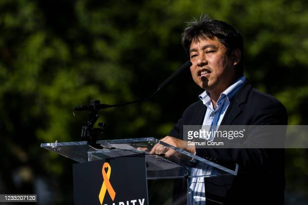 David Inoue, executive director of the Japanese American Citizens League DC, speaks during a rally on the National Mall on May 31, 2021 in...