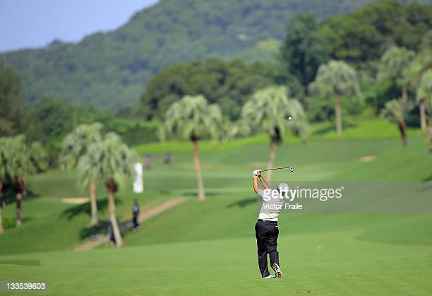 David Ishii of USA plays a shot on the 6th hole during day three of the Fubon Senior Open at Miramar Golf Country Club on November 20 2011 in Taipei...