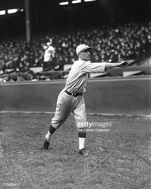 David J Bancroft of the New York Yankees throwing a ball in1921