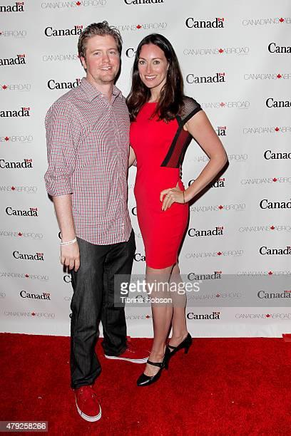 David J Phillips and Mia Mastroianni attend the Canada Day in LA party at on July 1 2015 in Santa Monica California