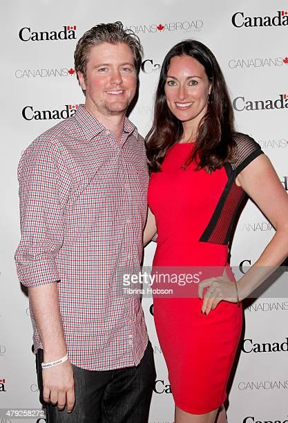 David J. Phillips and Mia Mastroianni attend the Canada Day in LA party at on July 1, 2015 in Santa Monica, California.