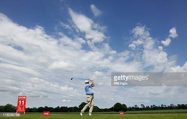 David J Russell of England in action during the second round of the Handa Senior Masters presented by the Stapleford Forum played at Stapleford Park...