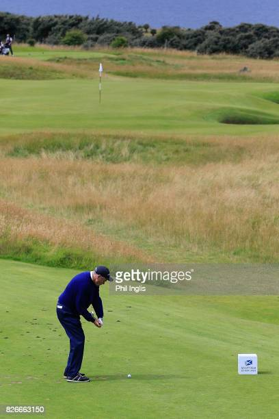 David J Russell of England in action during the second round of the Scottish Senior Open at The Renaissance Club on August 5 2017 in North Berwick...