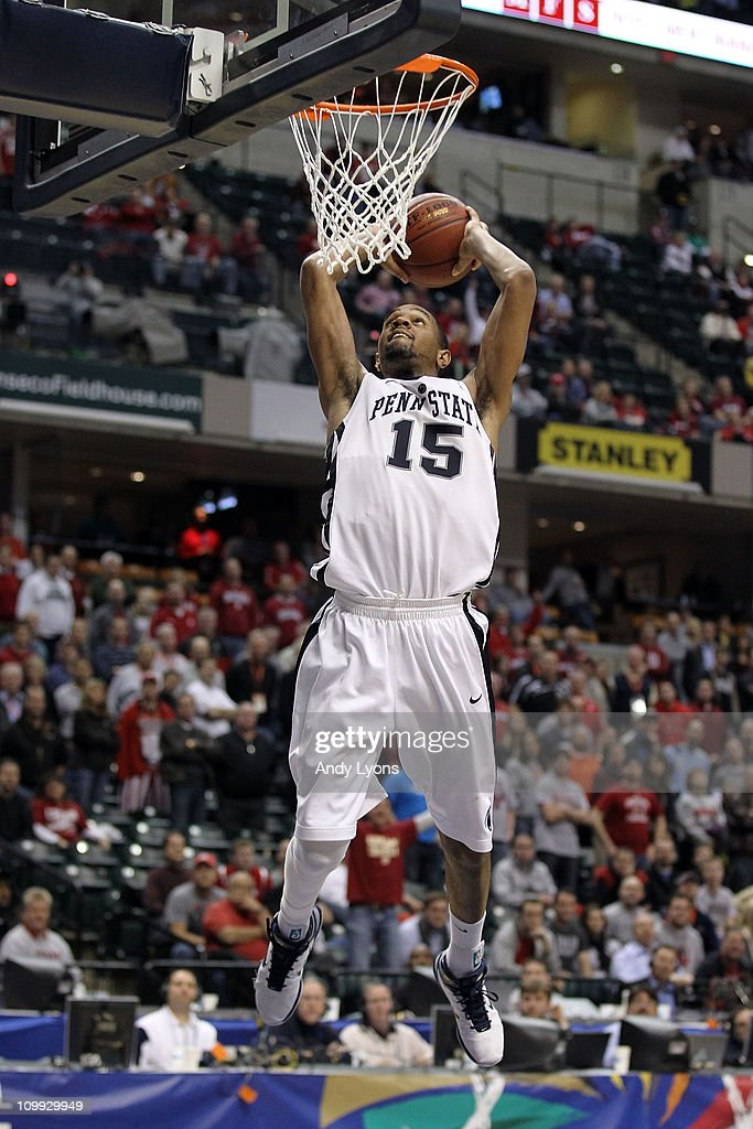 David Jackson #15 of the Penn State Nittany Lions dunks against the Indiana Hoosiers during the first round of the 2011 Big Ten Men's Basketball Tournament at Conseco Fieldhouse on March 10, 2011 in Indianapolis, Indiana. Penn State won 61-55.