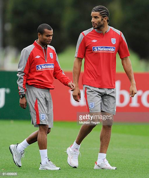 David James and Ashley Cole leave the training session early during the England training session at London Colney on October 6, 2009 in St Albans,...