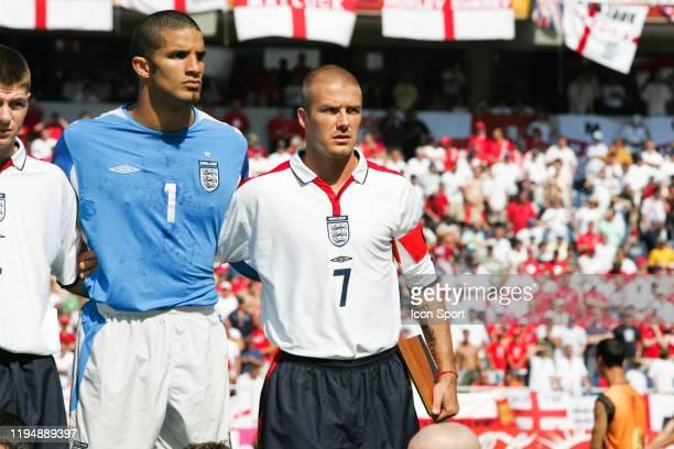 David JAMES and David BECKHAM of England during the European Championship match between England and Switzerland at Estadio Cidade de Coimbra,...