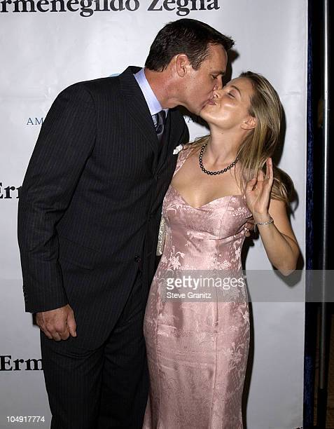 David James Elliot wife Nanci Chambers during American Oceans Campaign 2001 Partners Award at Century Plaza Hotel in Los Angeles California United...