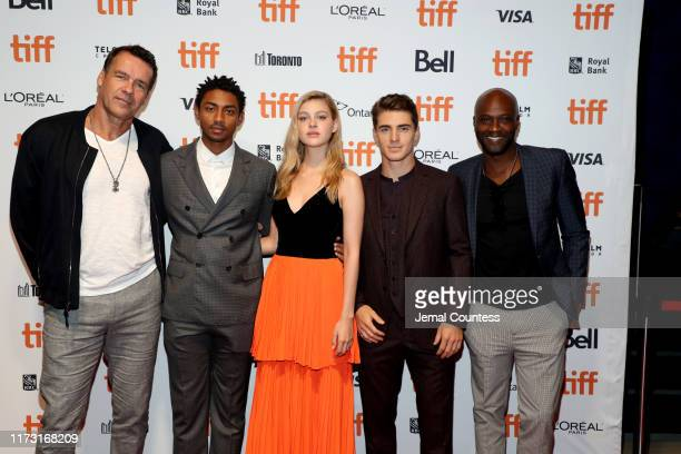 David James Elliott Steven Silver Nicola Peltz Spencer Neville and Sammi Rotibi attend The Obituary Of Tunde Johnson photo call during the 2019...