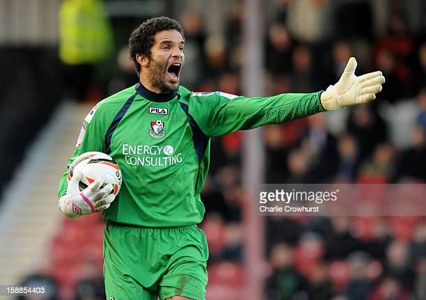 David James of Bournemouth shouts at his defence during the npower League One match between Brentford and Bournemouth at Griffin Park on January 01,...