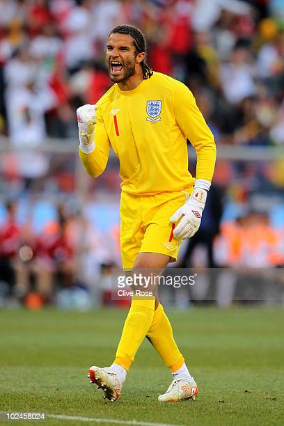 David James of England celebrates Matthew Upson scoring his side's first goal during the 2010 FIFA World Cup South Africa Round of Sixteen match...