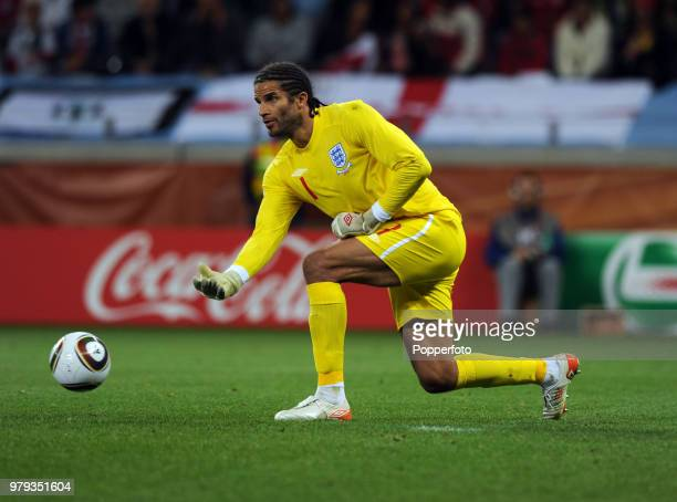 David James of England in action during the FIFA World Cup Group C match between England and Algeria at the Cape Town Stadium on June 18, 2010 in...
