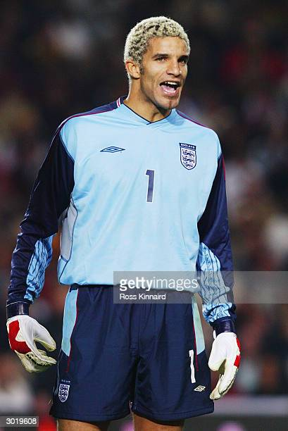 David James of England in action during the International Friendly match between Portugal and England held on February 18, 2004 at the Faro-Loule...