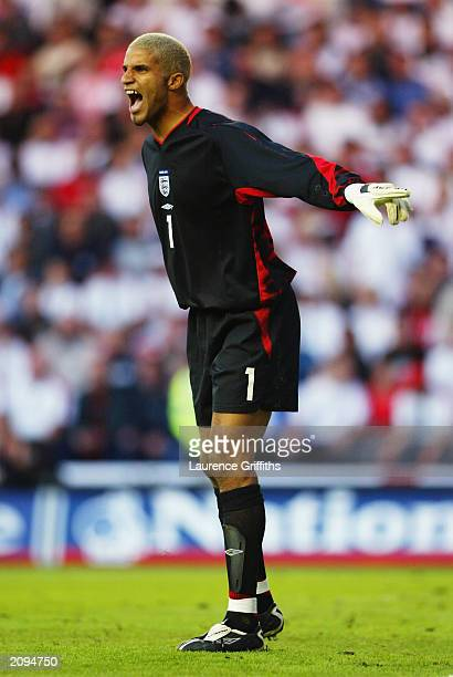 David James of England in action during the UEFA European Championships 2004 Group 7 Qualifying match between England and Slovakia held on June 11,...