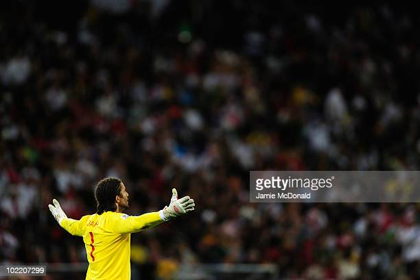David James of England reacts during the 2010 FIFA World Cup South Africa Group C match between England and Algeria at Green Point Stadium on June...