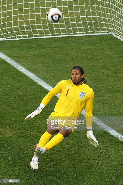 David James of England saves a shot from Mesut Oezil of Germany during the 2010 FIFA World Cup South Africa Round of Sixteen match between Germany...