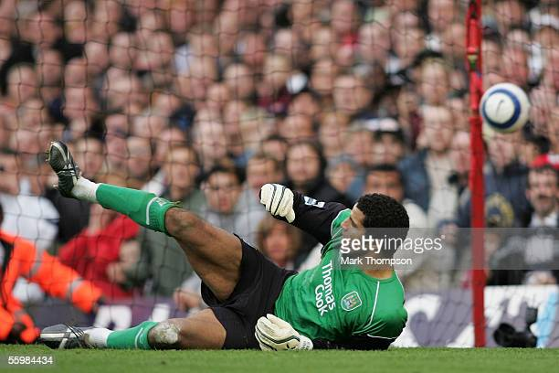 David James of Manchester City can only look on as he concede's a penalty from Robert Pires during the Barclays Premiership match between Arsenal and...