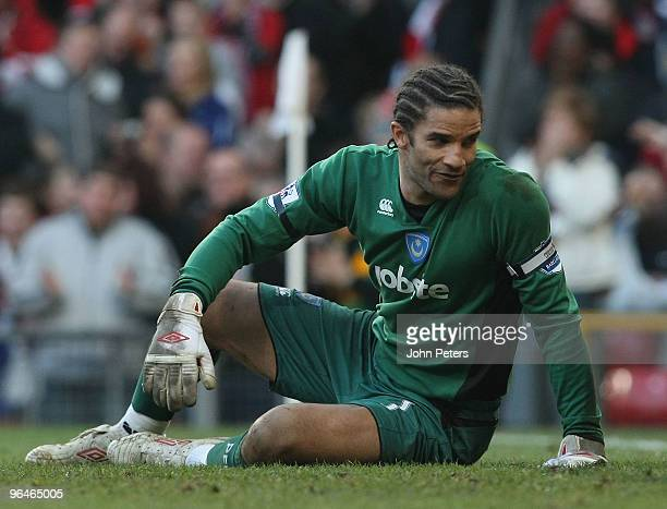 David James of Portsmouth reacts to conceding an own-goal by Anthony Vanden Borre during the FA Barclays Premier League match between Manchester...