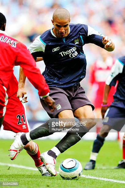 David James the Man City goalkeeper changes his shirt and plays at centre forward during the FA Barclays Premiership match between Manchester City...